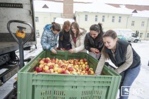 A csíksomlyói gyermekotthonba érkezett a Merkúr első almaszállítmánya. Vedres alma vásárlással segíthetik az árvákat